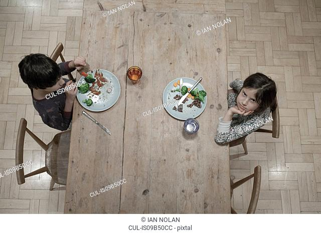 Overhead portrait of girl and brother eating dinner at kitchen table