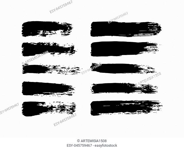 Vector set of grunge brush strokes. Oil brushes