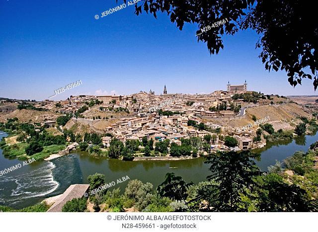 Toledo and Tejo river. Castilla-La Mancha, Spain