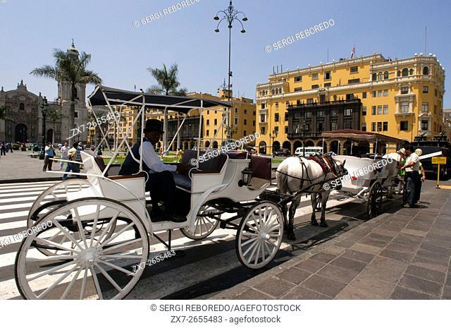 Horse ride carriage at Plaza de Armas square, Plaza Mayor, Peru, South America