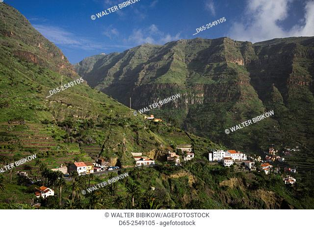Spain, Canary Islands, La Gomera, Valle Gran Rey, elevated valley view