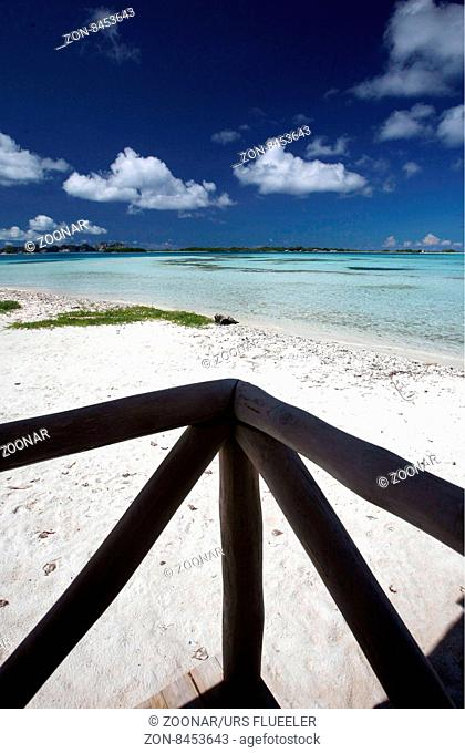 a beach at the village on the Gran Roque Island at the Los Roques Islands in the caribbean sea of Venezuela