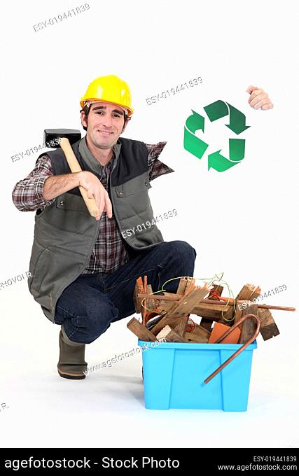 A handyman promoting recycling