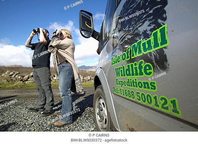 Birdwatchers on safari on Island of Mull, United Kingdom, Scotland