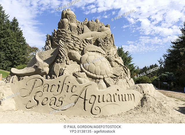 Tacoma, Washington: Sand sculpture by Sue McGrew celebrating the grand opening of the Pacific Seas Aquarium at the Point Defiance Zoo & Aquarium