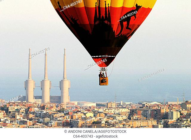 Barcelona from a balloon. Barcelona. Catalonia. Spain
