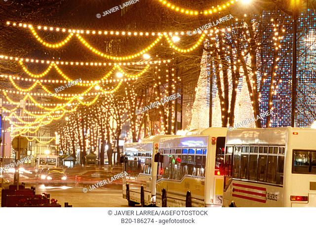 Gran Via with Christmas lights. Bilbao. Spain