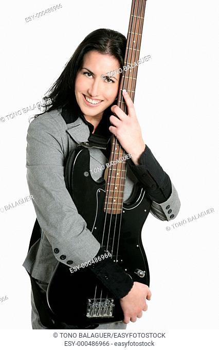 Businesswoman guitar player suit and rock and roll