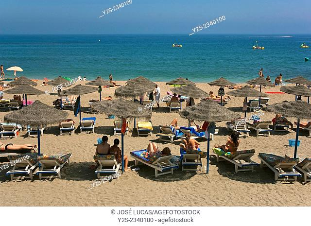 Bil-Bil beach, Benalmadena, Malaga province, Region of Andalusia, Spain, Europe
