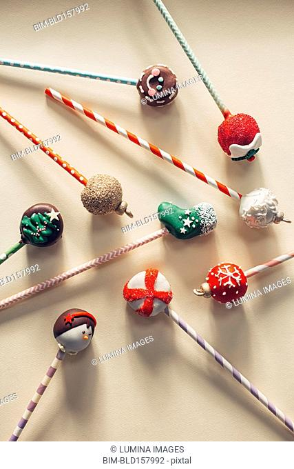 Close up of decorated Christmas candy lollipops
