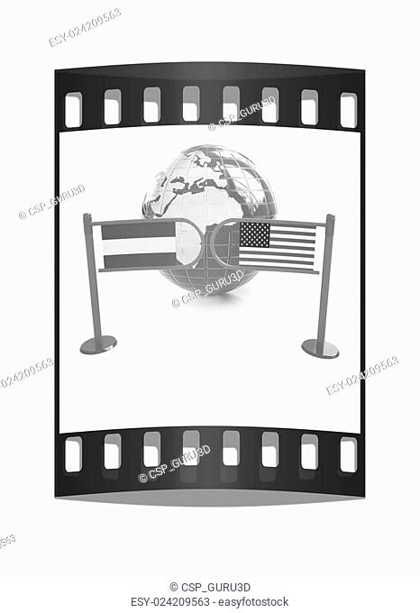 Three-dimensional image of the turnstile and flags of USA and Austria. The film strip