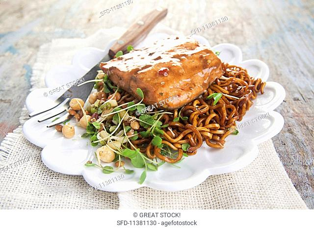 Salmon trout fillet with a soy and chilli sauce and egg noodles