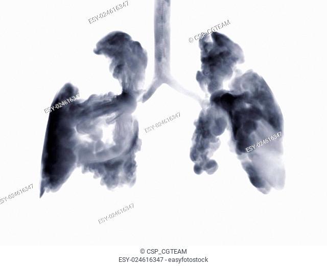 Smoke shaped as human lungs
