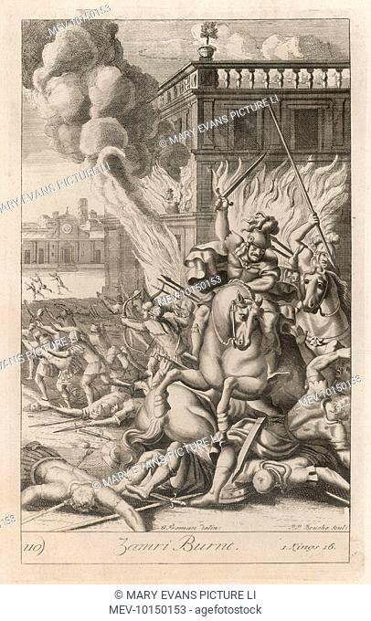 Zimri, after murdering rival claimants, becomes king of Israel, and reigns for seven days before he is attacked by Omri, and immolates himself in the royal...