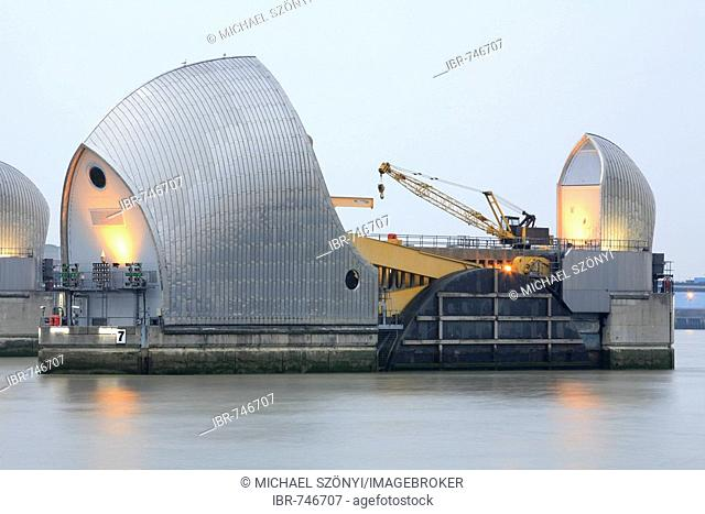 Locks along the Thames Barrier to protect the city from storm tides, Greenwich, London, England, UK