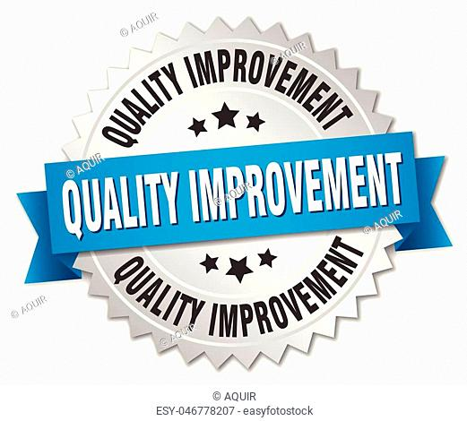 quality improvement round isolated silver badge