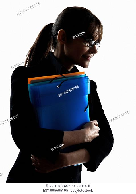 one business woman portrait holding folders files silhouette studio isolated on white background
