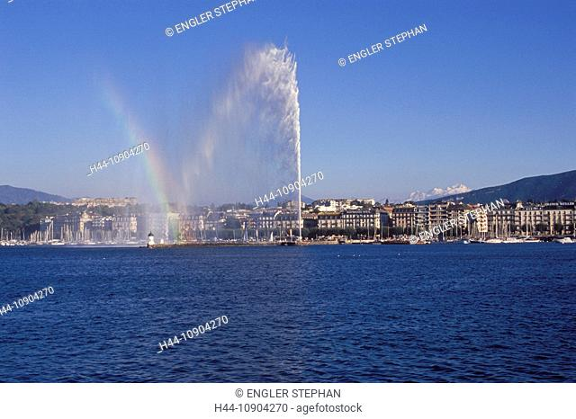 Switzerland, Europe, Genève, Geneva, Lac Léman, lake Geneva, lake, town, city, canton, Jet d'eau, fountain, panorama, scenery