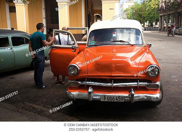 Old american car used as a collective taxi in the city center, Havana, Cuba, West Indies, Central America