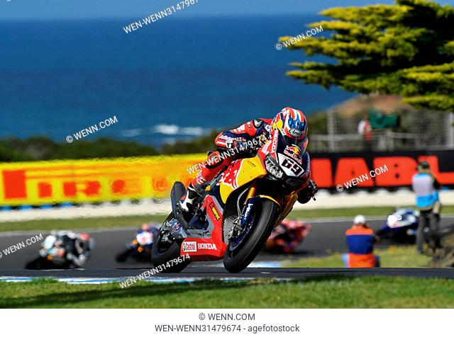 Nicky Hayden on his Red Bull Honda at the 2017 World Superbike Championship opener in Australia Featuring: Nicky Hayden Where: Cowes