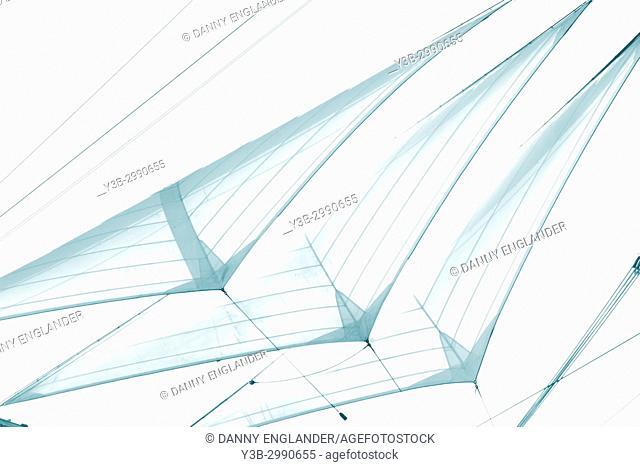 Minimalist image of turquoise transparent sails