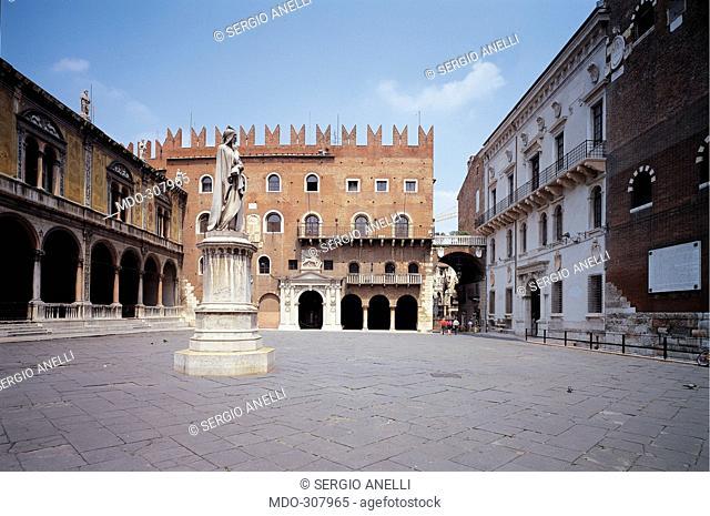 Piazza dei Signori, by Unknown artist, Unknow, . Italy; Veneto; Verona; Piazza dei Signori; . Detail. View Piazza dei Signori building houses clouds statue...