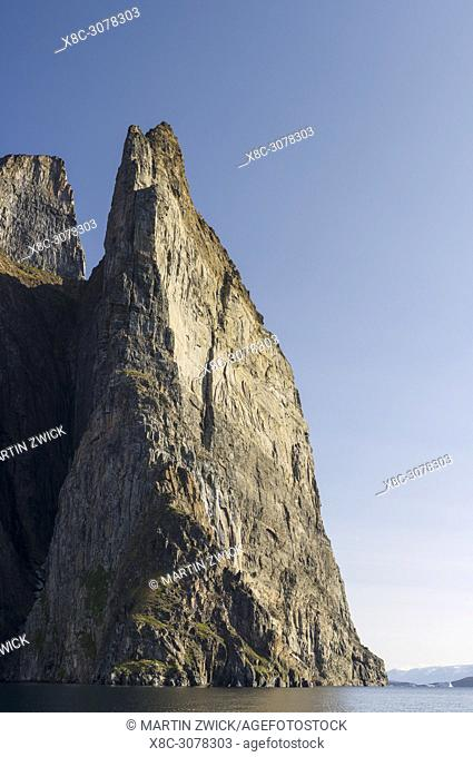 Huge bird cliff in the Uummannaq fjord system in the north of west greenland. America, North America, Greenland, Denmark