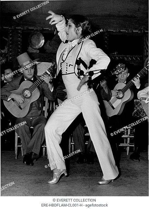 FLAMENCO DANCE- 19-year old Spanish gypsy girl considered the greatest Flamenco dancer today, dances at the Beachomber. - CPL Archives/Everett Collection