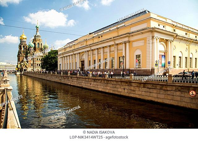 Russia, Saint Petersburg, Saint Petersburg. A view towards the Church of the Savior on Spilled Blood in Saint Petersburg