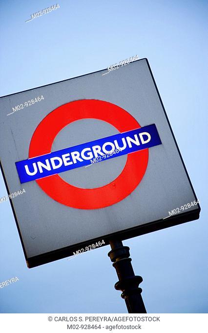 Underground sign in London, Great Britain, UK