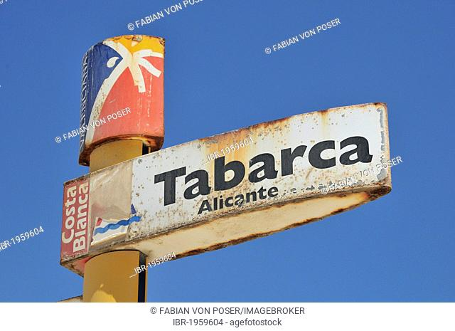Sign at the harbor of Tabarca island, Alicante, Costa Blanca, Spain, Europe