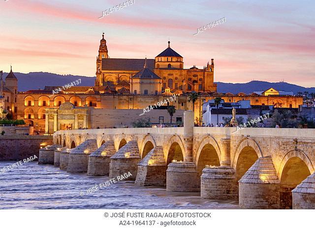 Spain , Andalucia Region,Cordoba Province,Cordoba City, (W.H.) The Roman Bridge and Cordoba Mosque, Guadalquivir River