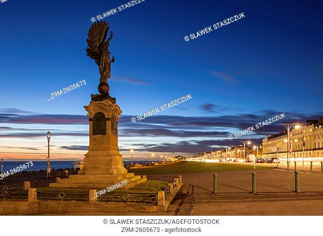 Angel of Peace statue on the seafront in Hove, East Sussex, England. Evening in winter