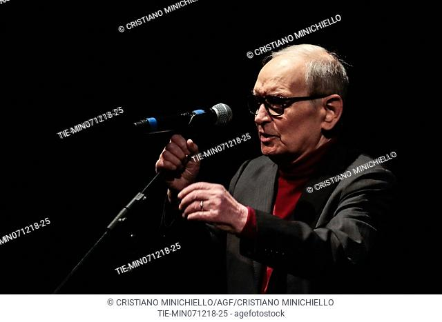 Ennio Morricone attends at the evening in memory of Bernardo Bertolucci at the Argentina Theatre in Rome, ITALY-06-12-2018