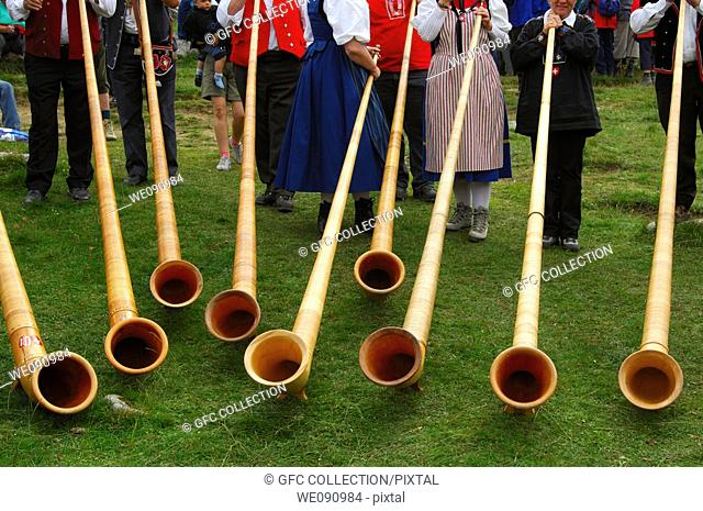 Swiss Alphorns at a Swiss folk festival, Valais, Switzerland