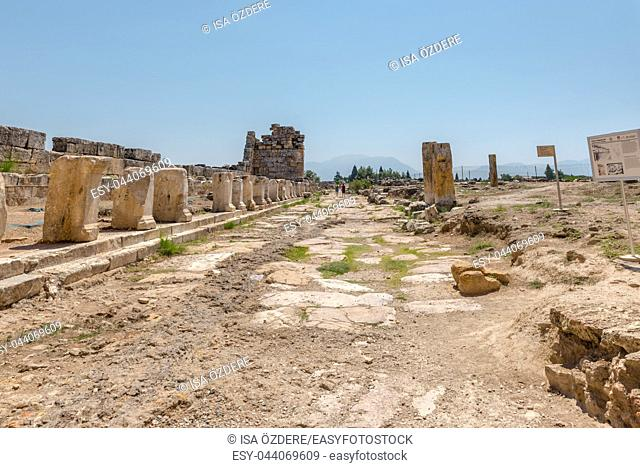 View of latrine along Frontinus Street at Hierapolis ancient city in Pamukkale, Turkey