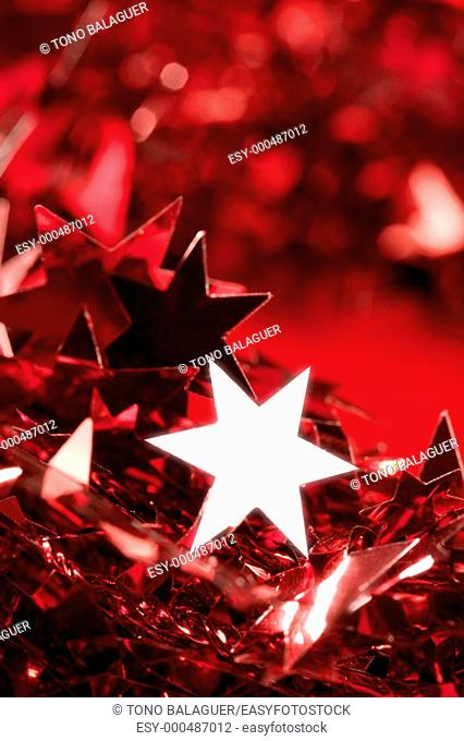 Christmas star card decoration still at studio red background