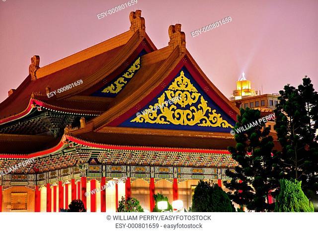 Ornate Chinese Roofs National Opera House National Chiang Kai-Shek Memorial Monument Hall Taipei Taiwan at Night