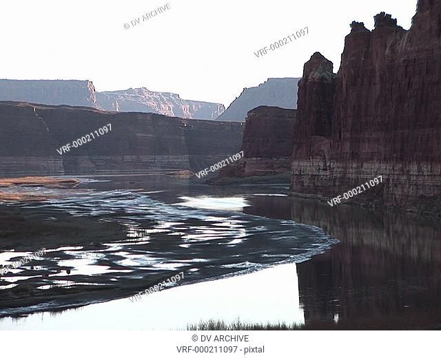 Medium shot of the Colorado River in Utah