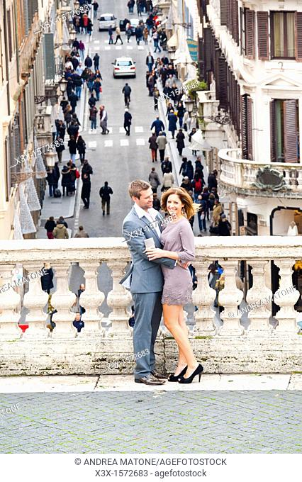 Couple together in Piazza di Spagna Rome Italy