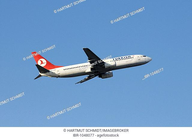 Turkish Airlines commercial aircraft Airbus Boeing 737-800 during climb flight