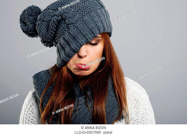 Young woman doesn't like winter time, Debica, Poland