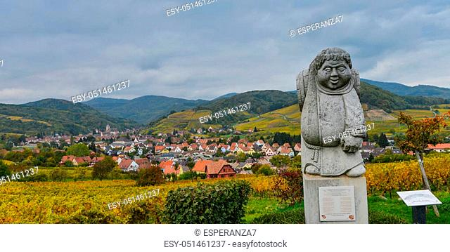 France, Bas-Rhin, 67, Andlau, village and vineyard, statue of a monk carrying a barrel of wine, Alsace wine