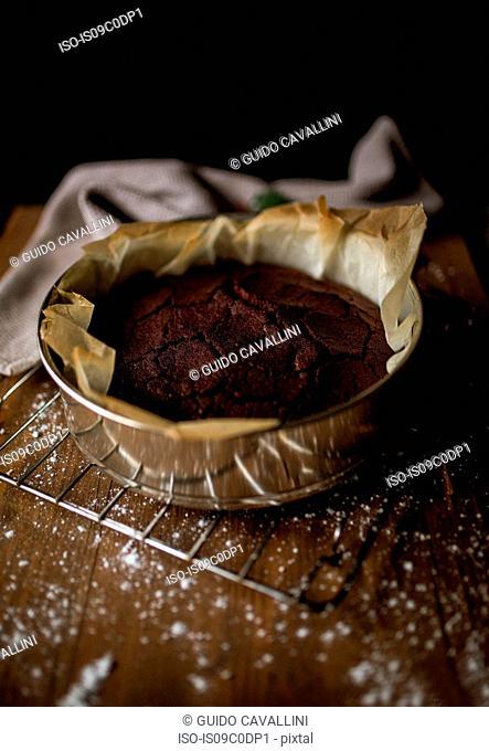 Chocolate cake in baking tin
