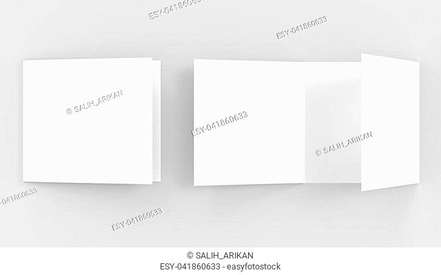 Three fold - trifold square brochure mock up isolated on soft gray background. 3d illustrating