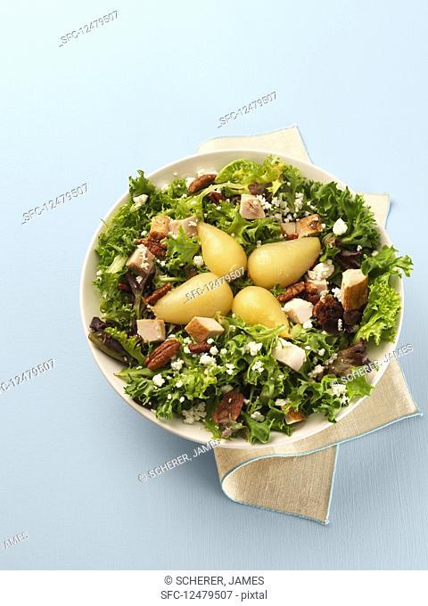 Turkey, pear and pecan salad
