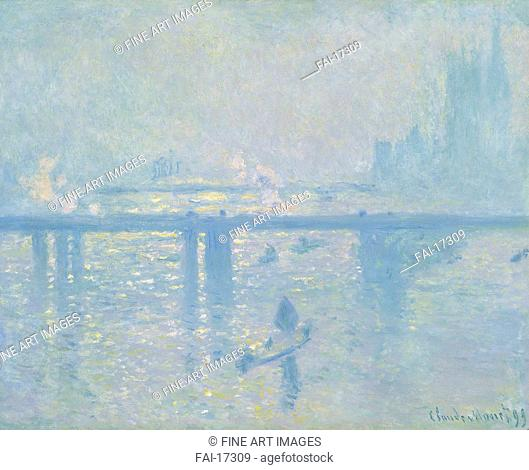 Charing Cross Bridge. Monet, Claude (1840-1926). Oil on canvas. Impressionism. 1899. Thyssen-Bornemisza Collections. 64,8x80,6. Painting