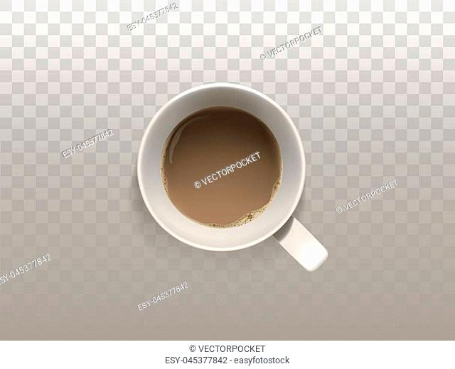 Vector 3d realistic cup of coffee, top view, isolated on translucent background. White mug with hot, strong drink for breakfast, espresso, cappuccino or latte