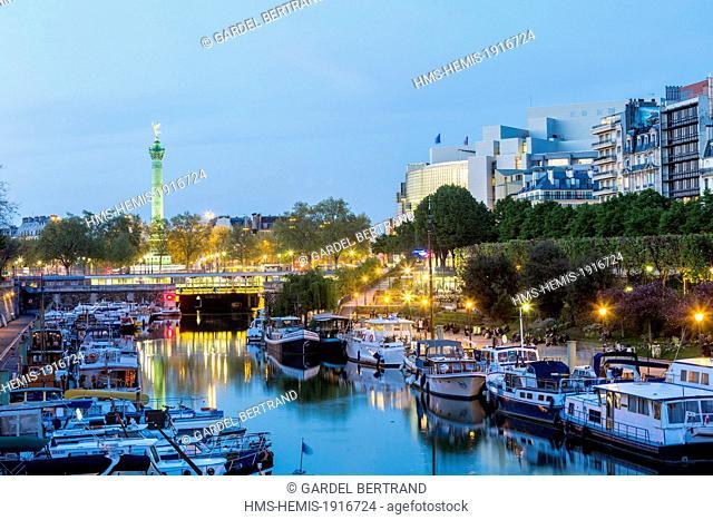 France, Paris, Bastille, the Port de l'Arsenal and the July Column