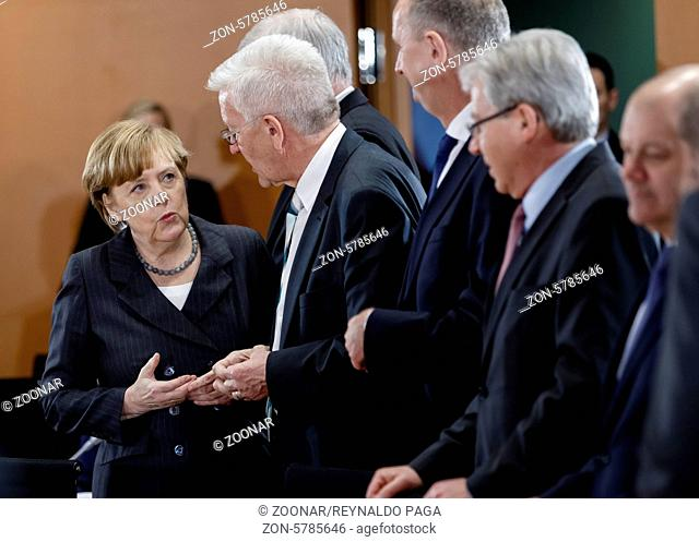 Berlin, Germany. April 01, 2014. Meeting Chancellor Merkel with Minister Presidents of the countries to the amendment of the renewable energies law with...